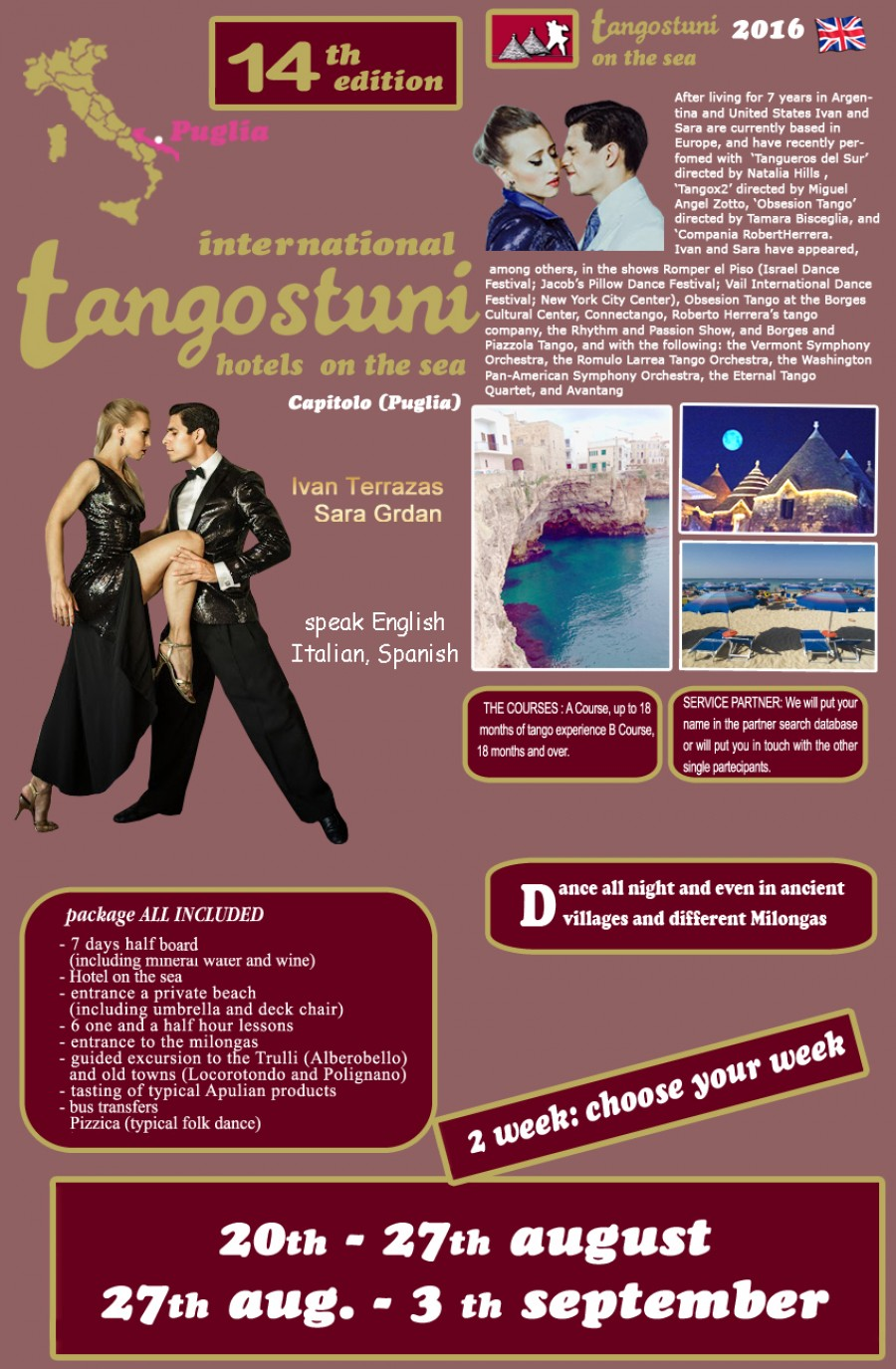 7 days of Tango 7 days of milonga Hotel on the Sea PUGLIA