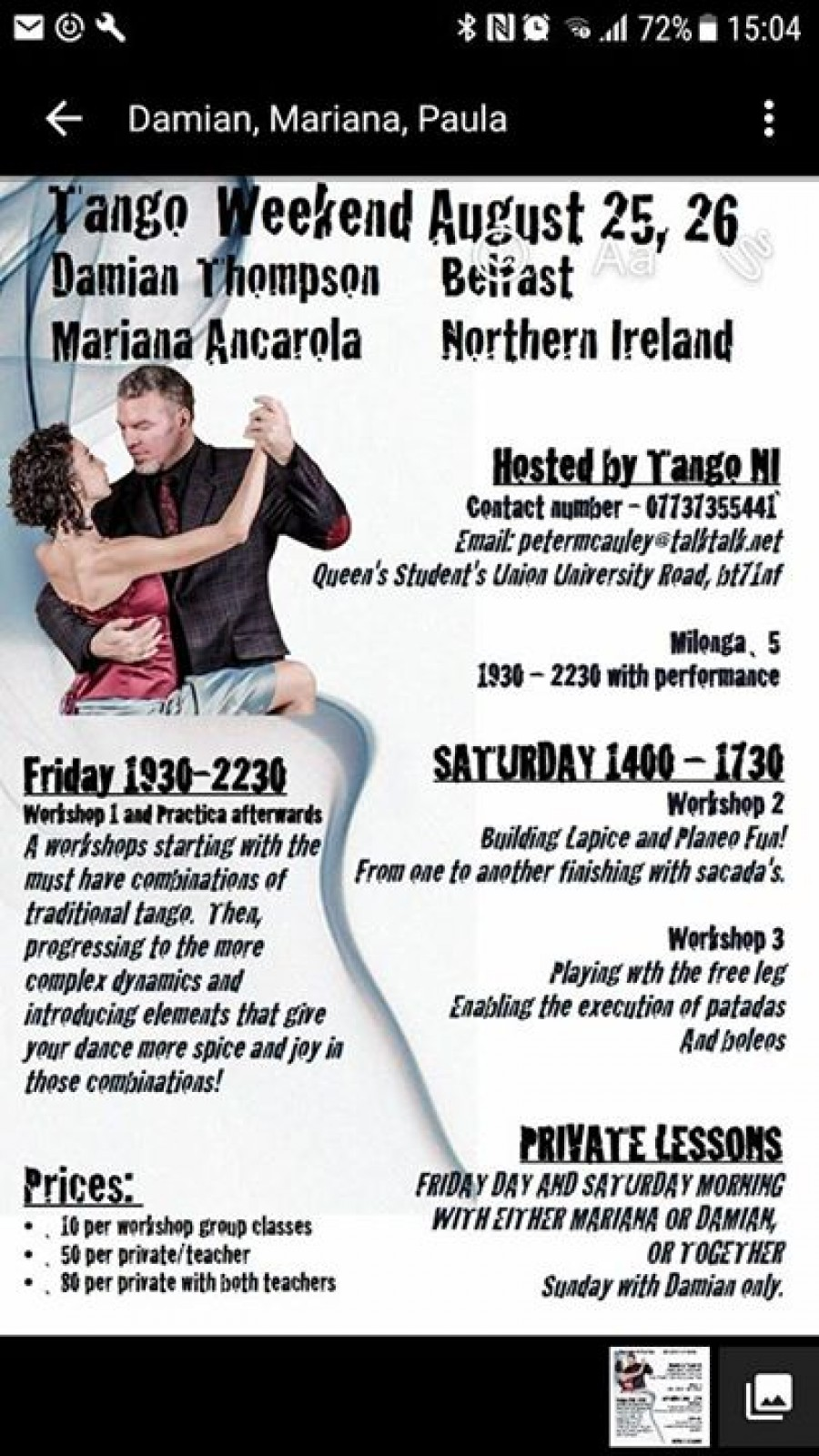 Tango Weekend With Damien Thompson And Mariana Ancarola
