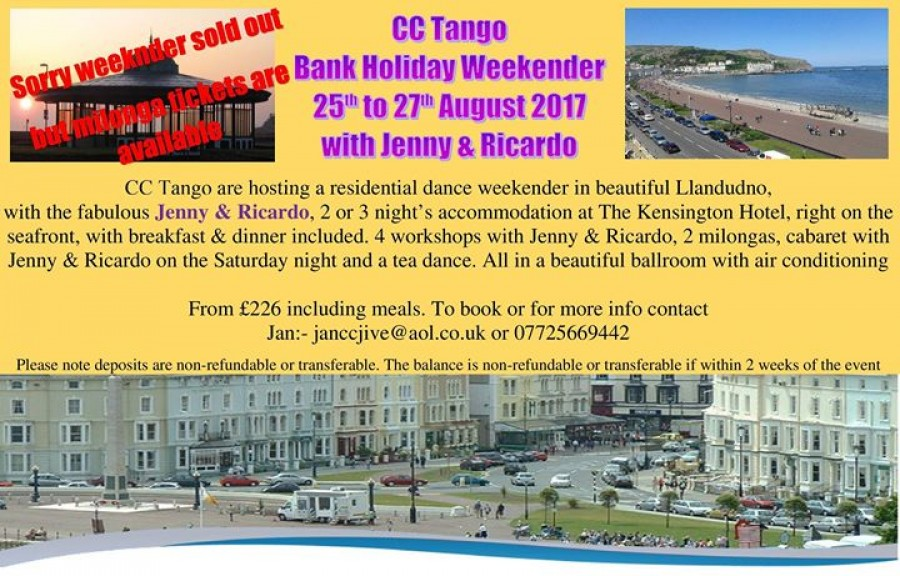 CC Tango Llandudno Bank Hol Dance Weekend with Jenny Ricardo